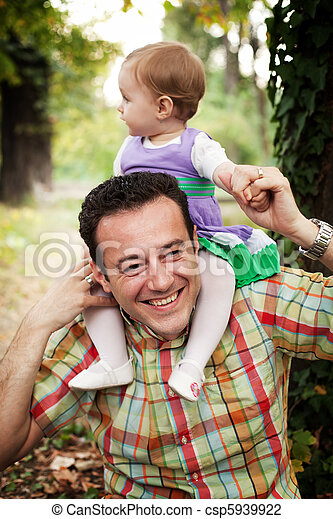 baby, vader, zijn, dochter, vrolijke  - csp5939922