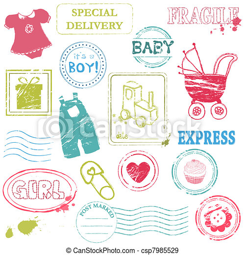 Baby Vector stamp collection in color - csp7985529