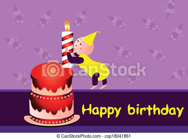 Baby with a birthday cake - csp18041861