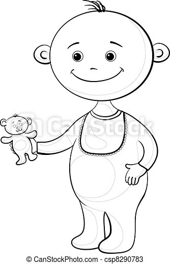 Baby with a teddy bear, contours - csp8290783