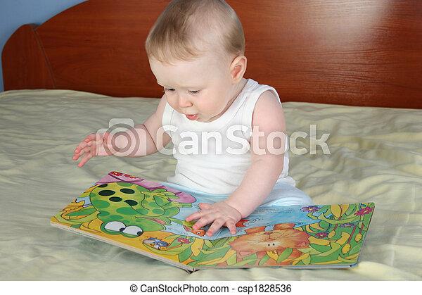 baby with boock - csp1828536