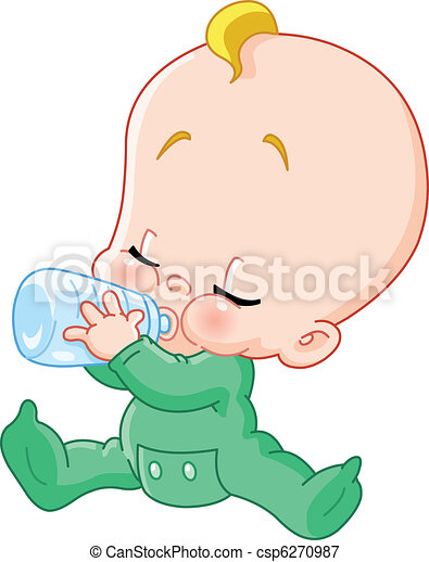 Baby with bottle - csp6270987