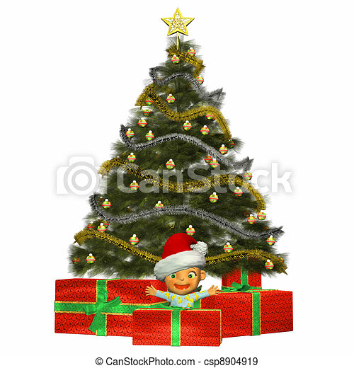 Baby with christmas tree & presents. Illustration of a ...