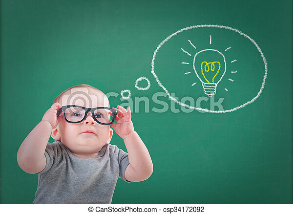 baby with glasses has an idea - csp34172092