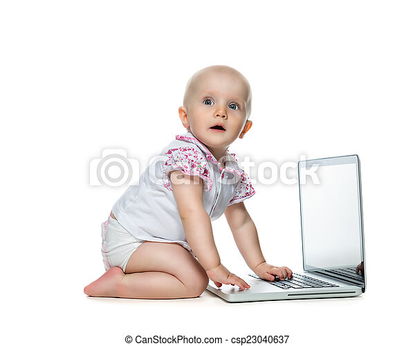 Baby with laptop on the white  - csp23040637