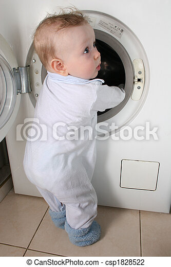 baby with washer - csp1828522