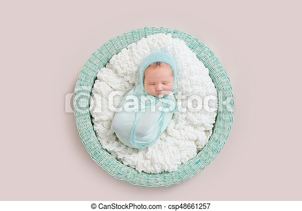 Baby Wrapped In Blue Blanket In Basket Topview Adorable Baby