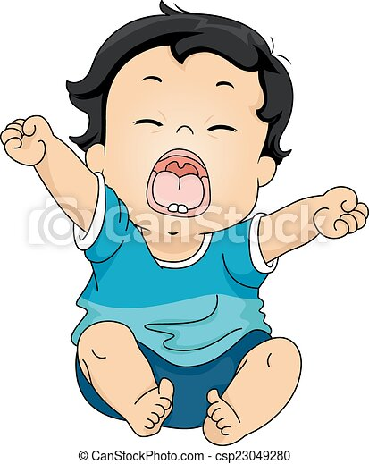 illustration featuring a baby yawning while stretching his vector rh canstockphoto com boy yawn clipart
