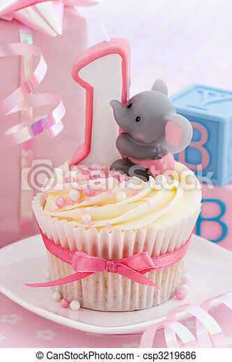 Babys first birthday Mini birthday cake for a baby stock image