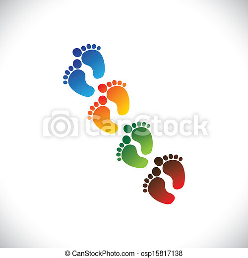 baby's or toddler's colorful foot step pairs for kindergarten - vector graphic. This illustration can represent play school, nursery or pre-school of kids & toddlers or baby care centers, etc - csp15817138