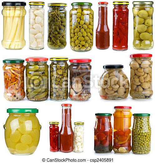 bacche, differente, set, verdura, funghi, vetro, conserved, vasi - csp2405891
