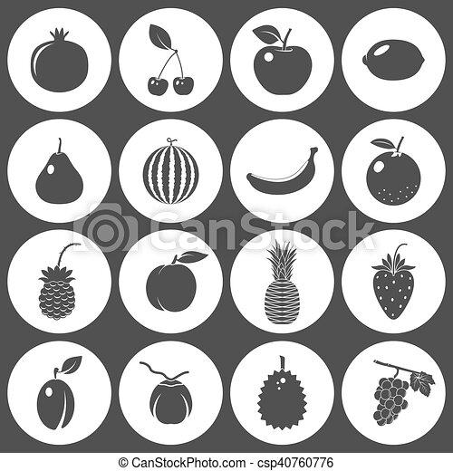 bacche, frutte, set, vettore, icone - csp40760776