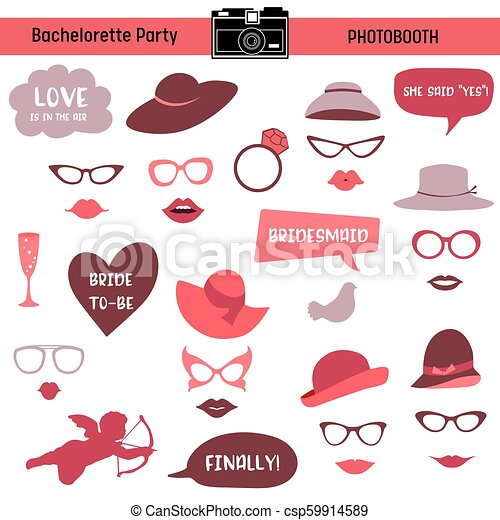 graphic relating to Printable Lips named Bachelorette celebration, bird occasion, bridal shower printable Gles, Hats, Lips, Indicators, Masks for image booth props within just vector