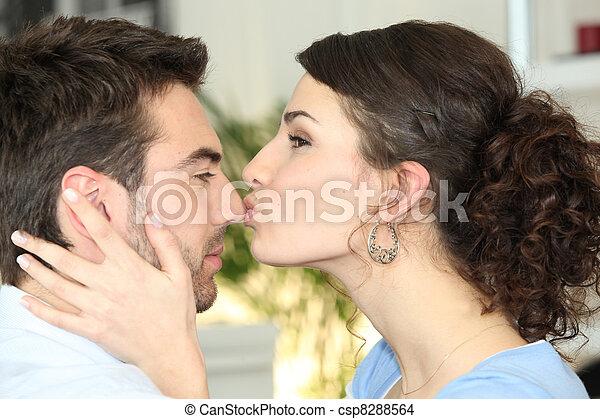 baciare, donna, lei, ragazzo - csp8288564
