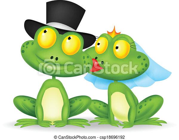 Baciare sposato cartone animato rana sposato illustrazione