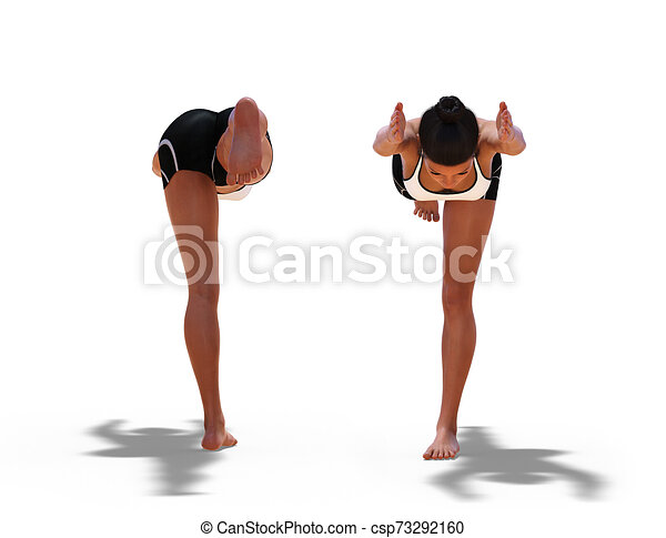 back and front poses of a woman in yoga warrior three pose