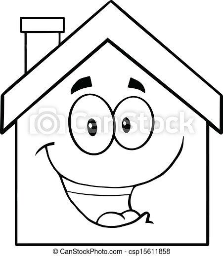 Back And White Happy House Cartoon Mascot Character