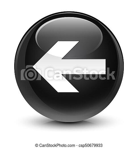 Back arrow icon glassy black round button - csp50679933