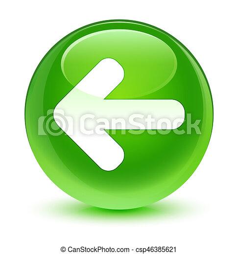 Back arrow icon glassy green round button - csp46385621