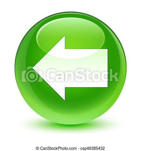 Back arrow icon glassy green round button - csp46385432