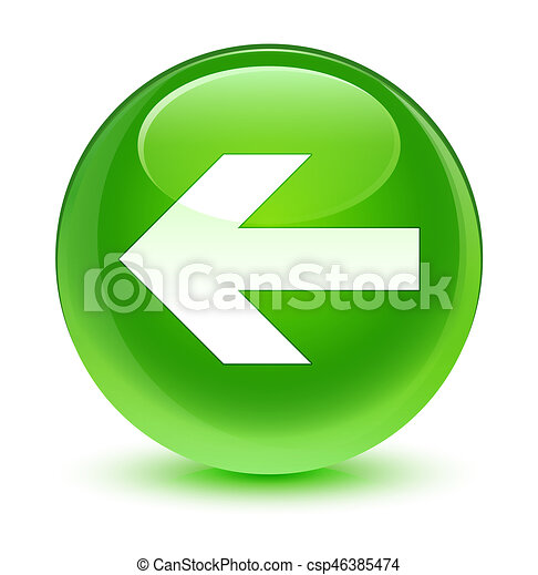 Back arrow icon glassy green round button - csp46385474