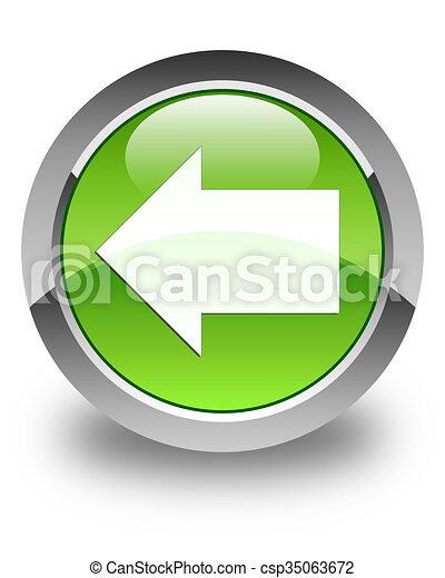 Back arrow icon glossy green round button - csp35063672