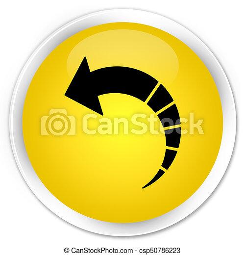 Back arrow icon premium yellow round button - csp50786223
