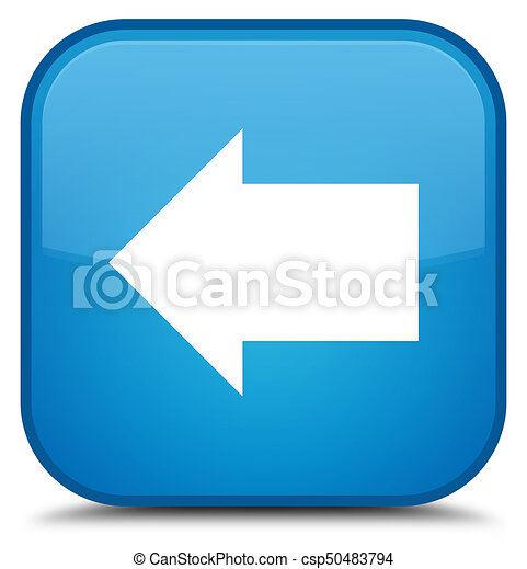 Back arrow icon special cyan blue square button - csp50483794