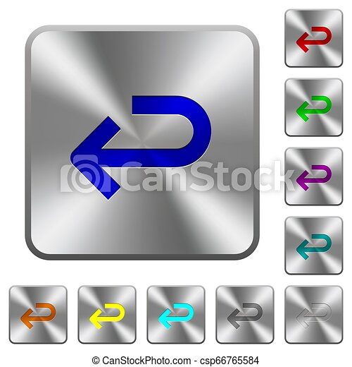Back arrow rounded square steel buttons - csp66765584