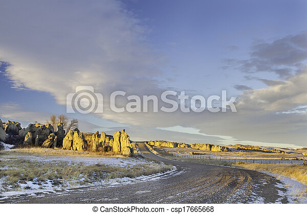 back country road over prairie - csp17665668