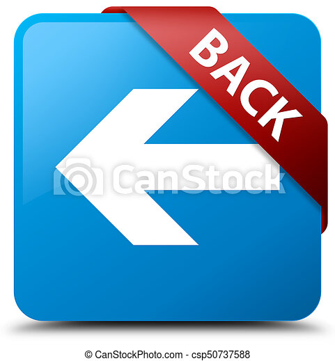 Back cyan blue square button red ribbon in corner - csp50737588