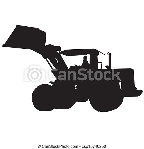 back hoe silhouette vector action backhoe vector isolate on rh canstockphoto com Front End Loader Clip Art Cartoon Bulldozer Clip Art