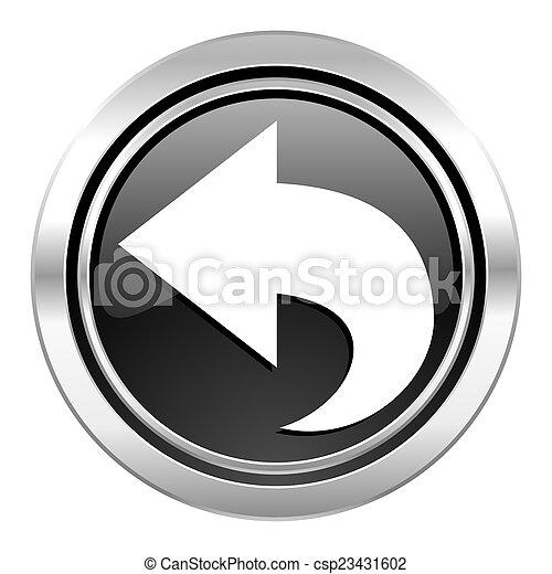 back icon, black chrome button, arrow sign - csp23431602