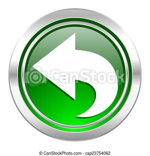 back icon, green button, arrow sign - csp23754062