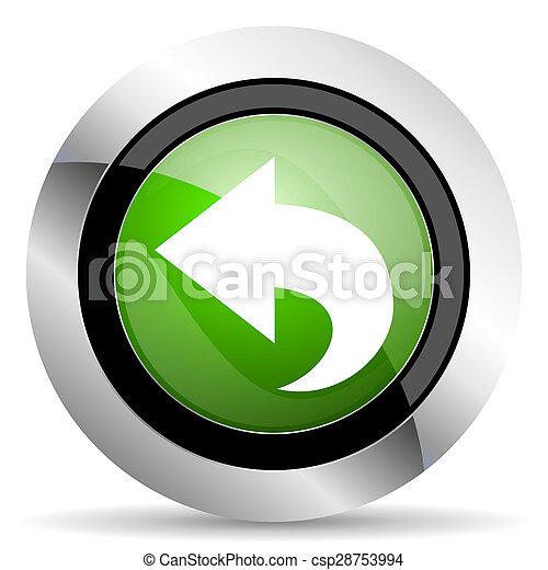 back icon, green button, arrow sign - csp28753994