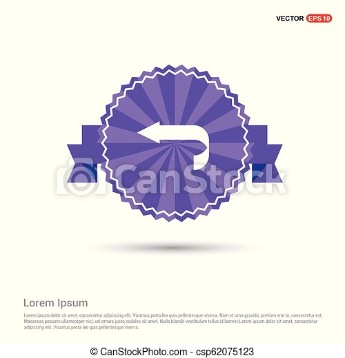 Back Icon - Purple Ribbon banner - csp62075123