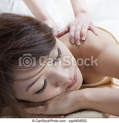 Back Massage Beauty And Spa Asian Girl Having A Massage On Her