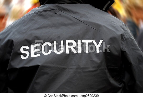 back of a security guard in front of blurred crowd - csp2599239