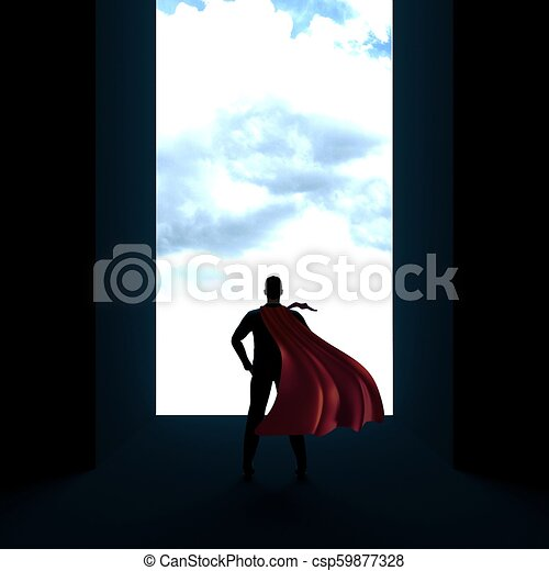 Back of business man superhero with hands on hips 3d render - csp59877328