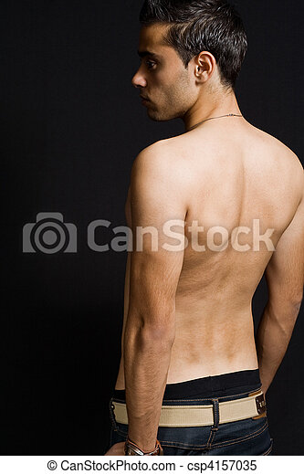Back of masculine sexy man - csp4157035