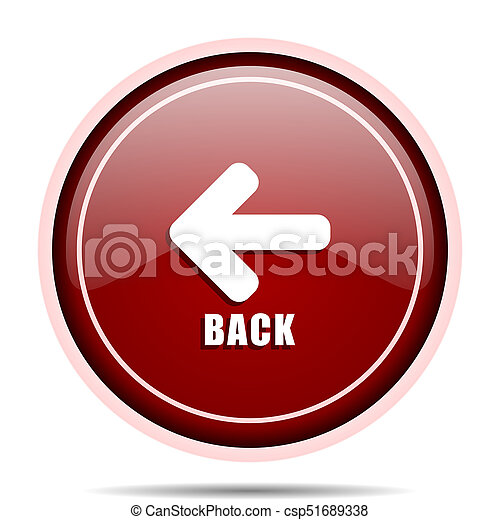 Back red glossy round web icon. Circle isolated internet button for webdesign and smartphone applications. - csp51689338