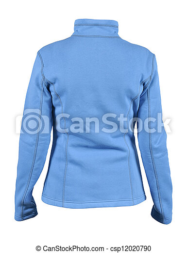 Back side view of blue female fleece sport jacket isolated on white background - csp12020790