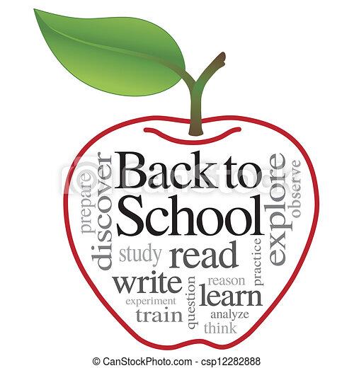 Back to school worm in apple. Fun grungy cartoon of friendly ...