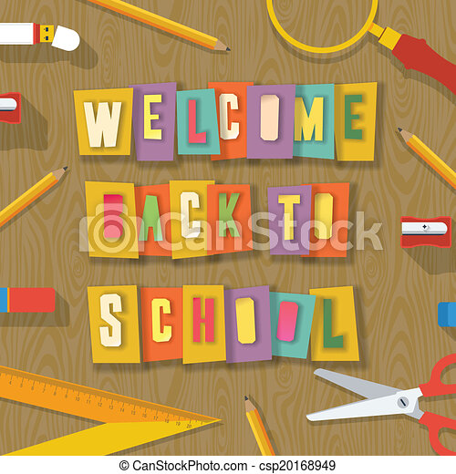 Back To School Background Collage Paper Craft Design Welcome Back