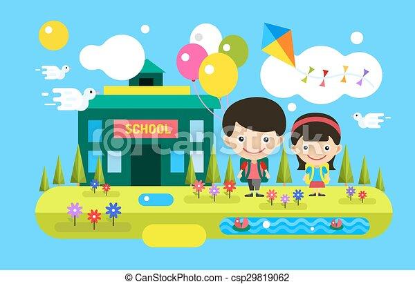 Back To School Background Cute Cartoon Boy And Girl