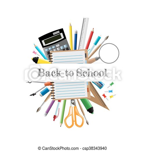 Back to school background, vector illustration - csp38343940