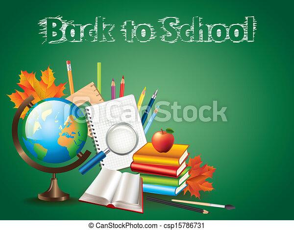Back to school background vector illustration - csp15786731