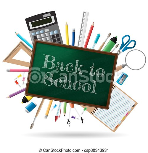 Back to school background, vector illustration - csp38343931