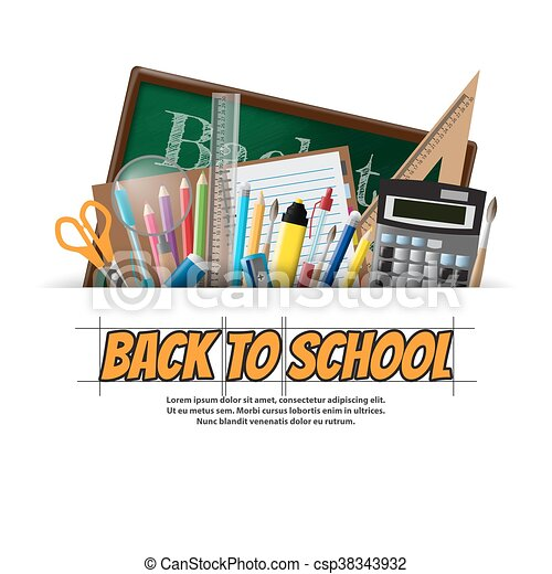 Back to school background, vector illustration - csp38343932