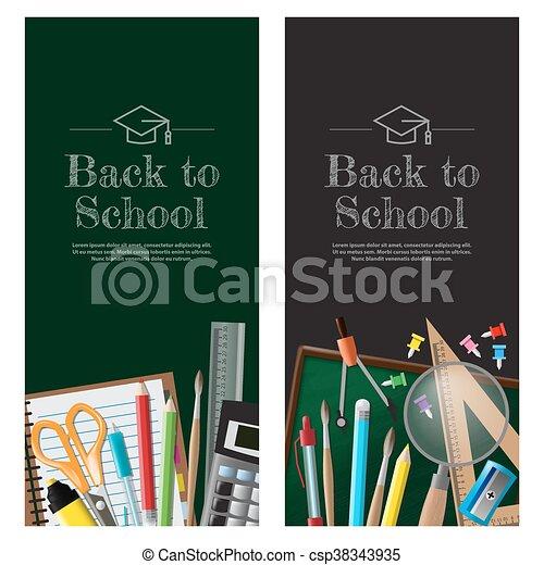 Back to school background, vector illustration - csp38343935